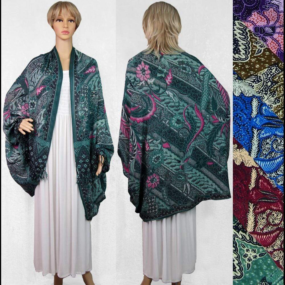 Traditional Batik Print Cuffed Shawl-Tops-Peaceful People