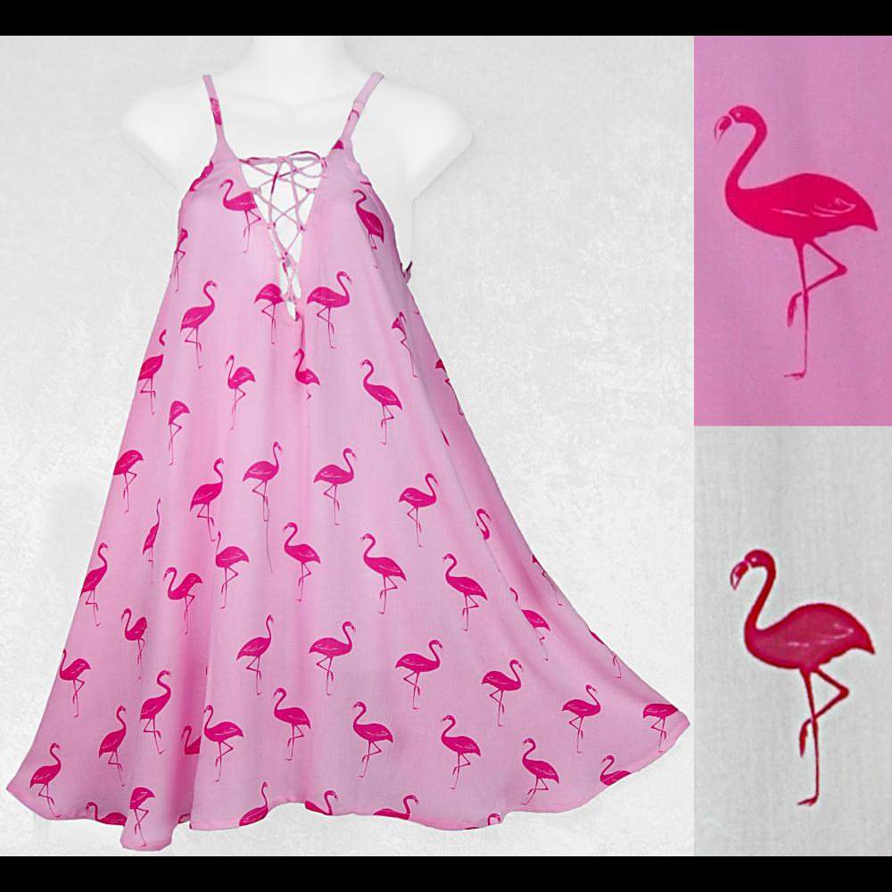 Flamingo Lace Up Dress-Dresses-Peaceful People