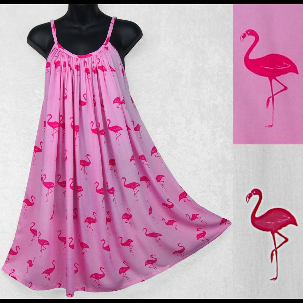 Flamingo Sarong Parachute Dress-Sun Dresses-Peaceful People