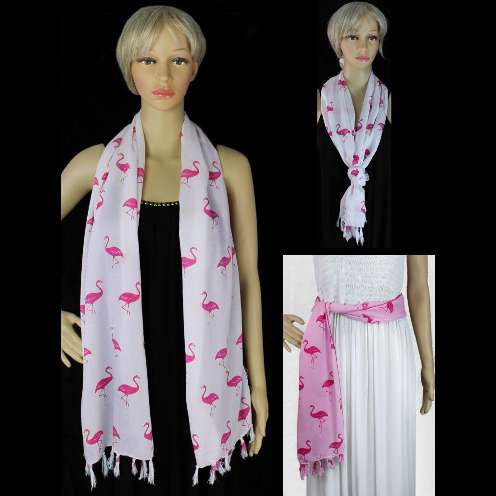 Flamingo Narrow Scarf/Shawl-Sarongs-Peaceful People