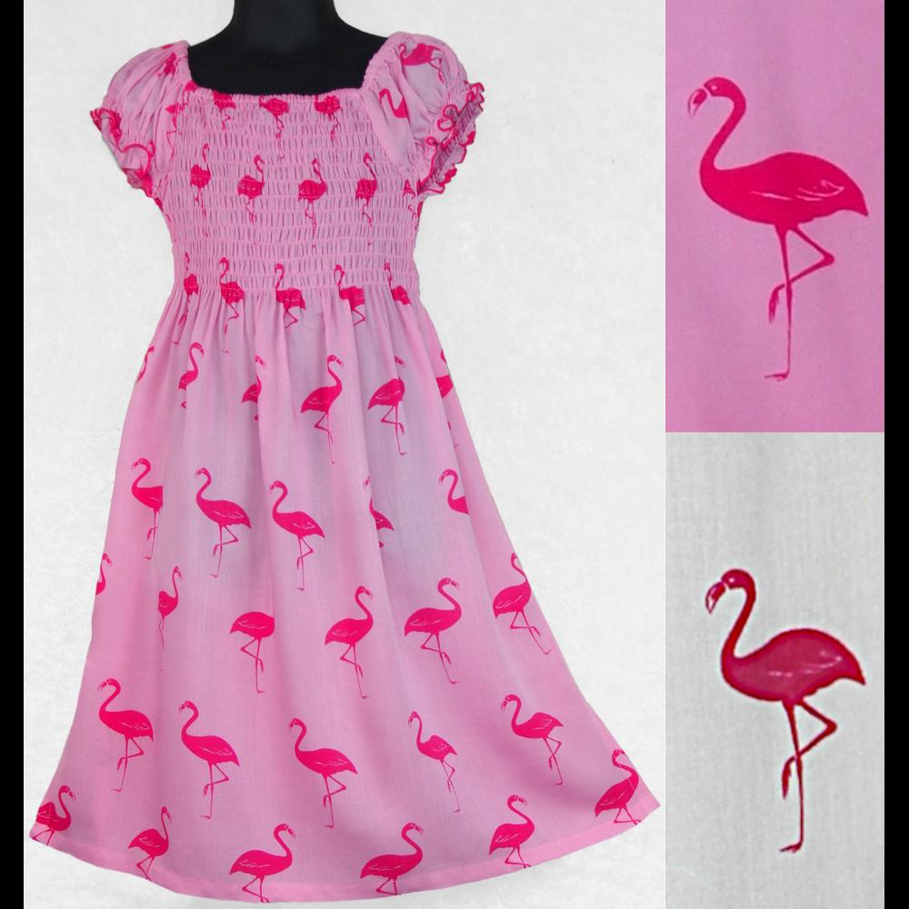 Girl's Flamingo Short Sleeve Dress (Ages: 4, 6, 8)-Children's Clothes-Peaceful People