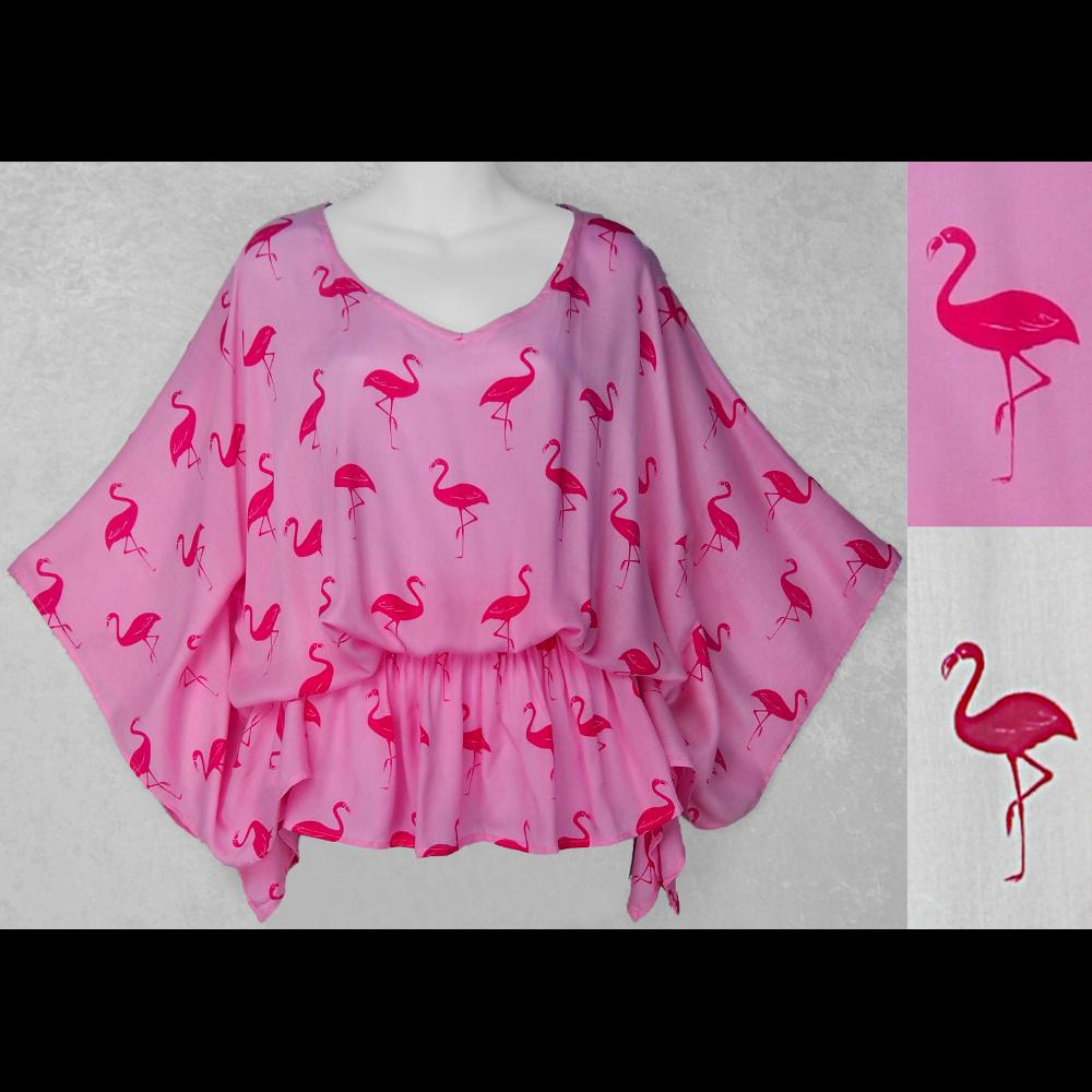 Flamingo Poncho Top-Tops-Peaceful People