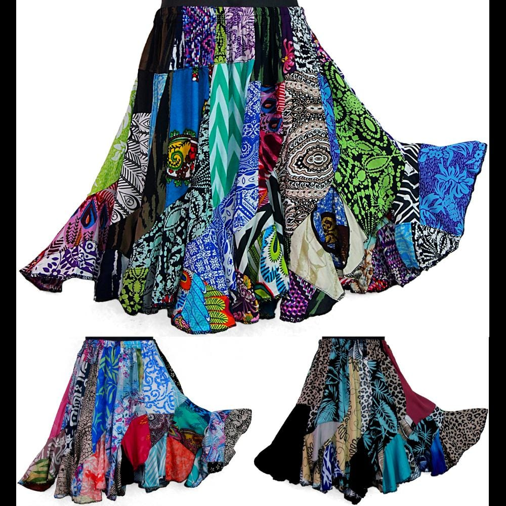 Girl's Patchwork Swirl Skirt (Ages: 4, 6, 8)-Dresses-Peaceful People