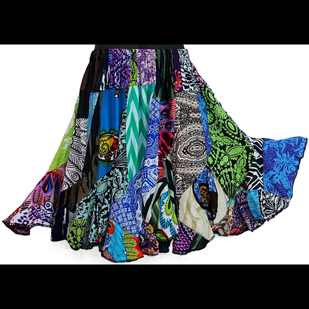Girl's Patchwork Swirl Skirt (Ages: 4, 6, 8)-Children's Clothes-Peaceful People