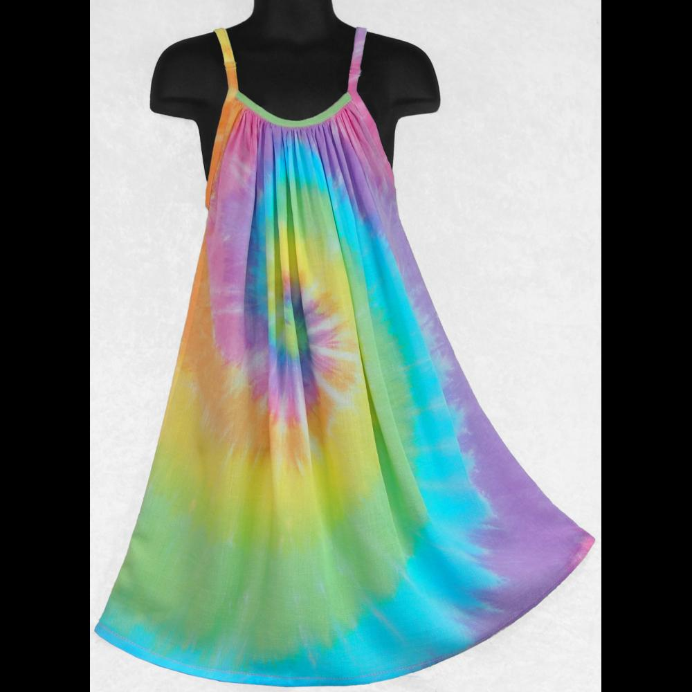 Girl's Soft Tie-Dye Parachute Dress (Ages: 4, 6, 8, 10, 12)-Children's Clothes-Peaceful People