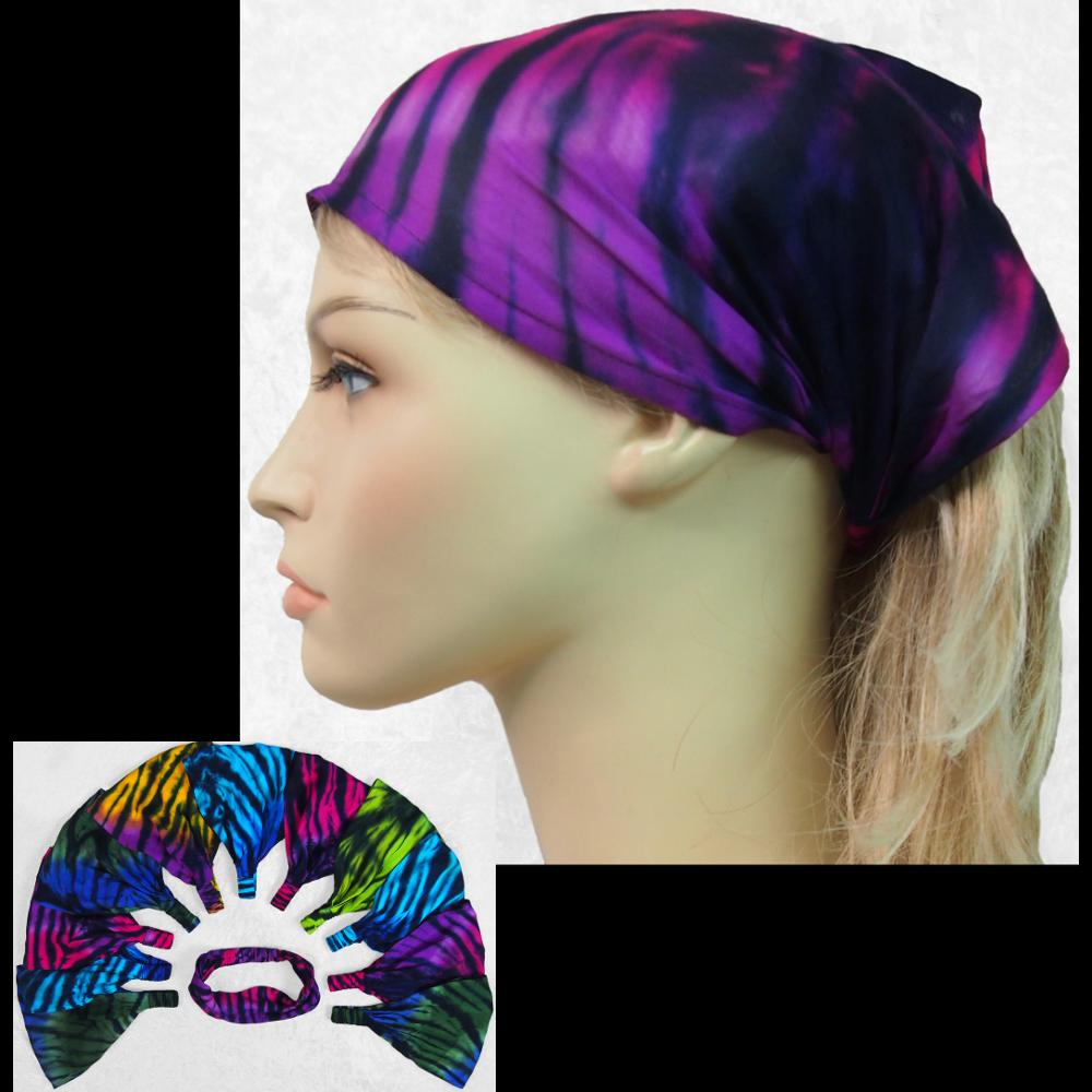12 Polychromatic Tie-Dye Elastic Bandana-Headbands ($1.60 each)-Bags & Accessories-Peaceful People