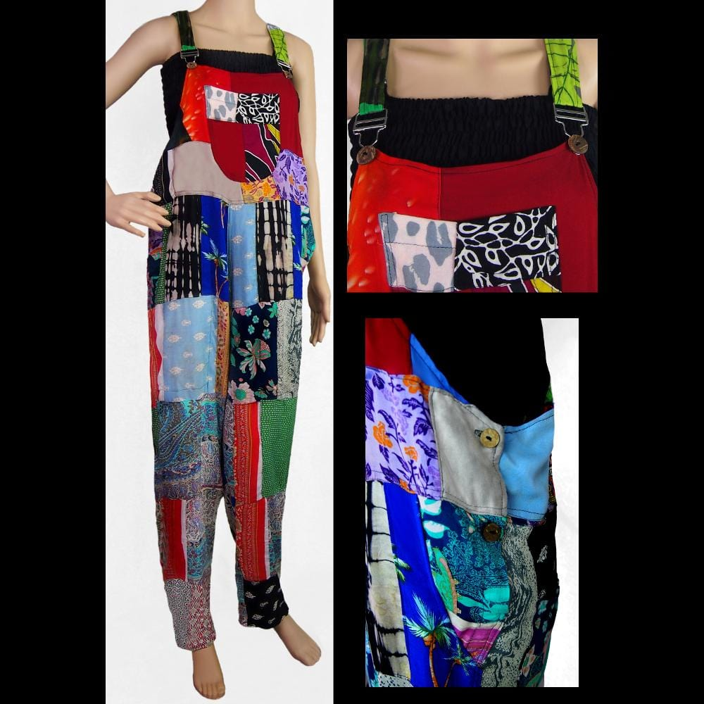 Patchwork Overalls-Pants-Peaceful People