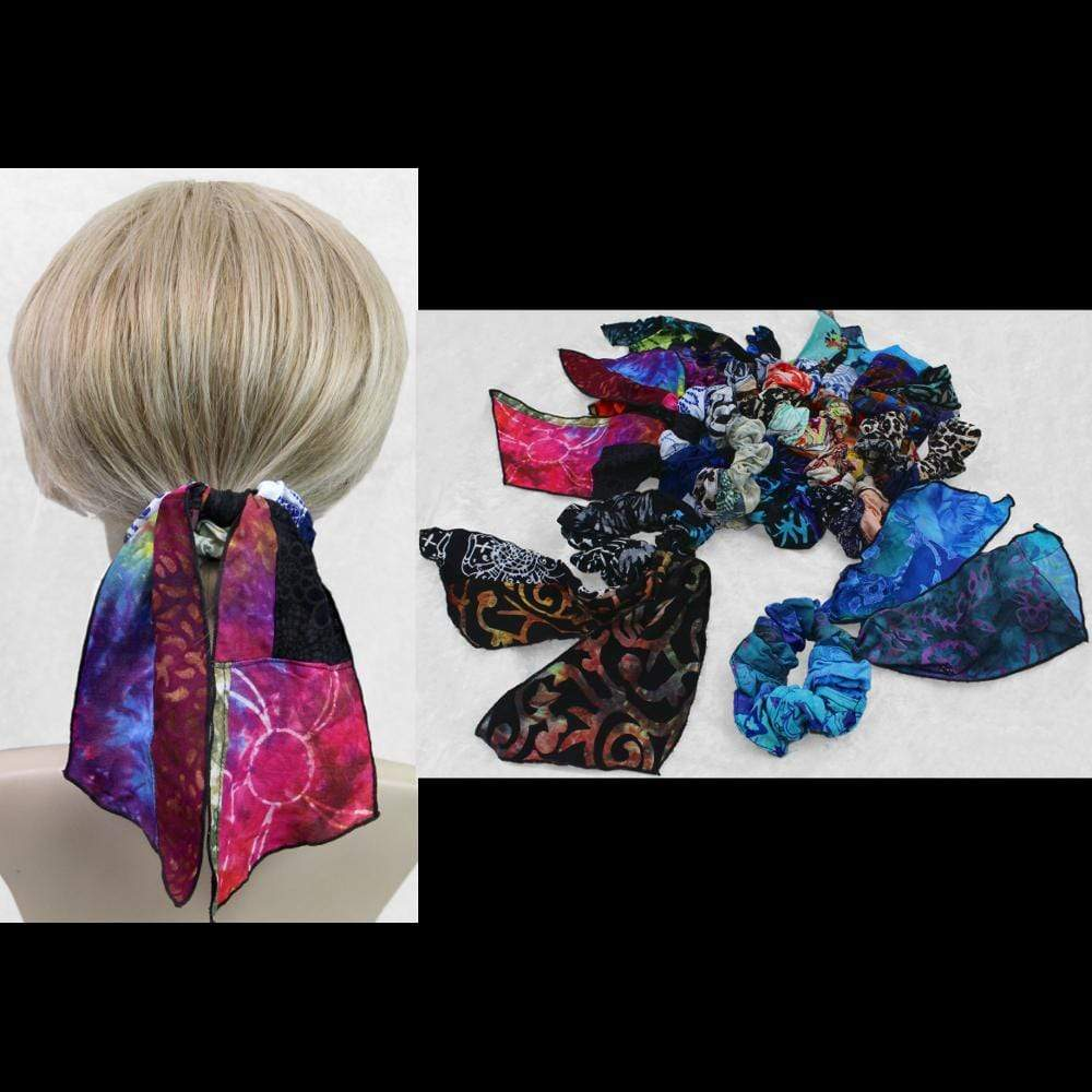 15 Patchwork Pony Tail Hair Scrunchies ($2.44 each)-Bags & Accessories-Peaceful People