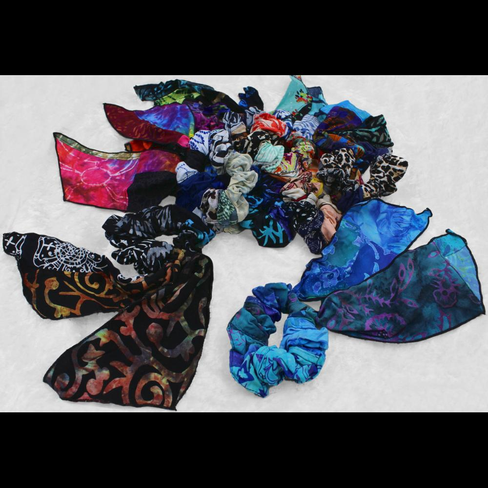 Patchwork Pony Tail Hair Scrunchies ($2.44)-Bags & Accessories-Peaceful People