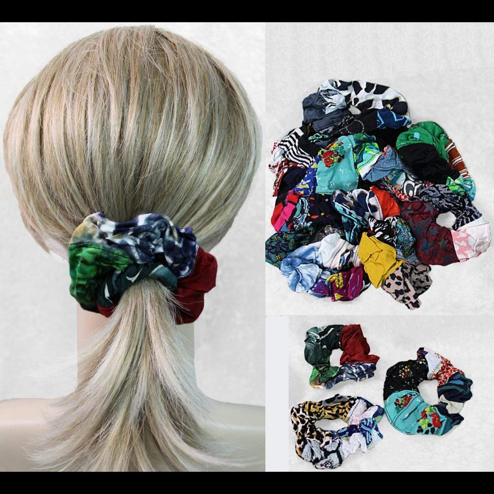 25 Patchwork Hair Scrunchies ($0.94 each)-Bags & Accessories-Peaceful People