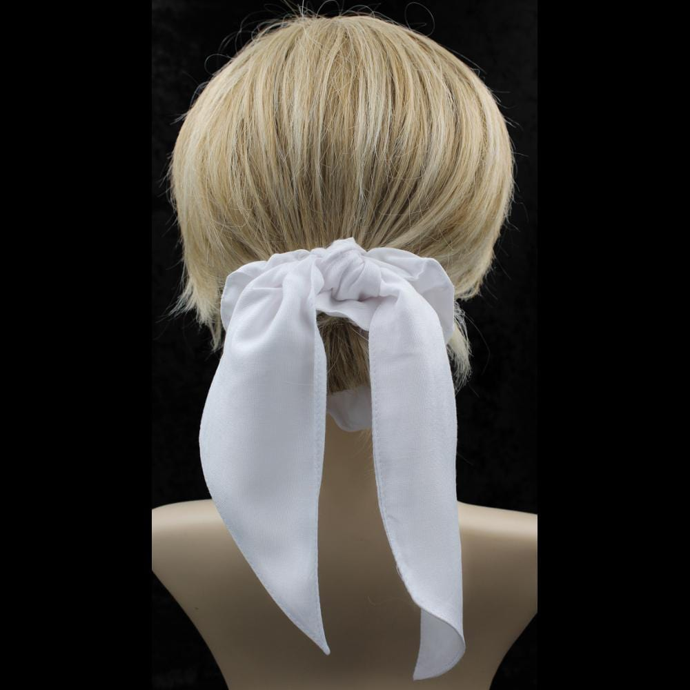 Premium White Pony Tail Hair Scrunchies ($1.90)-Bags & Accessories-Peaceful People