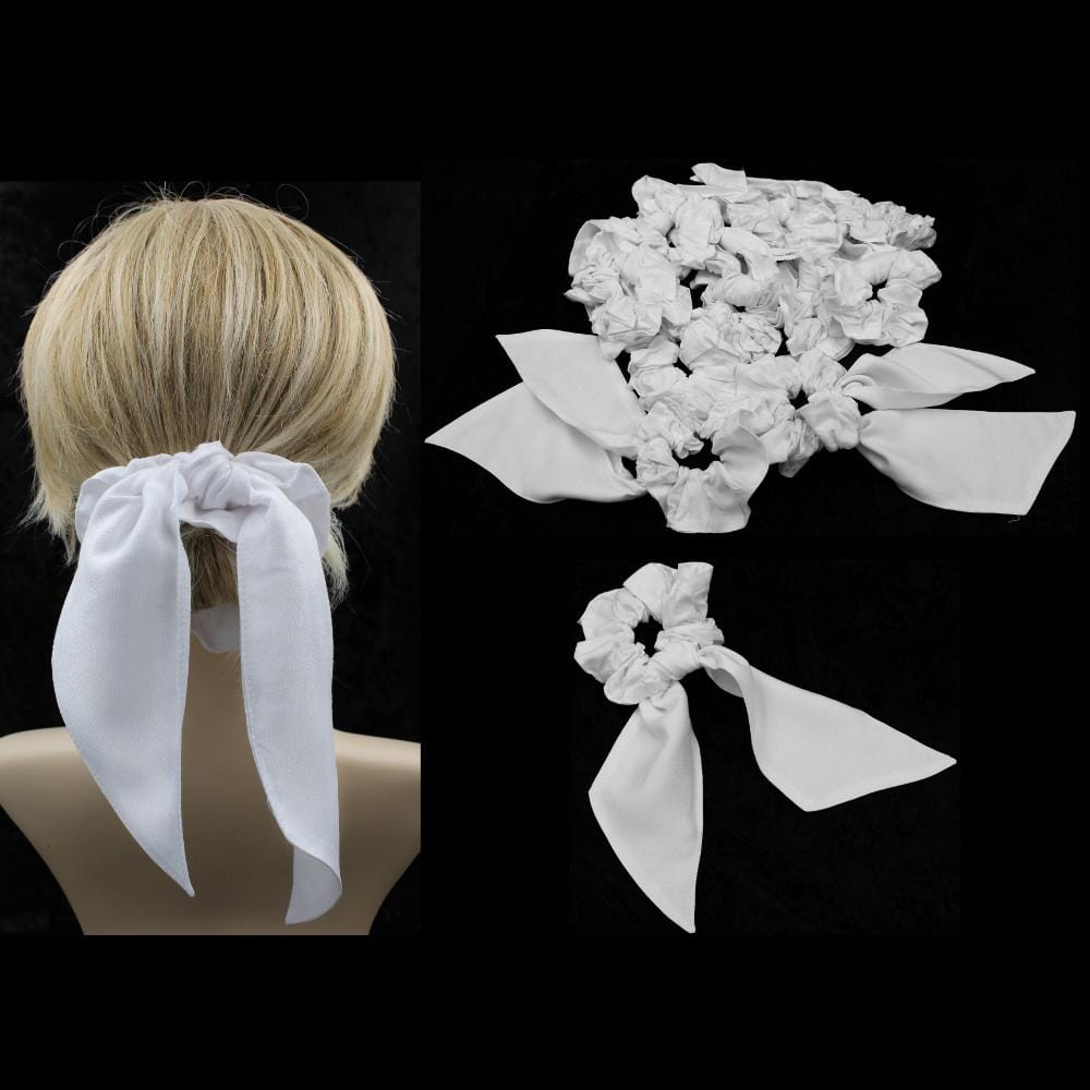 25 Premium White Pony Tail Hair Scrunchies ($1.90 each)-Bags & Accessories-Peaceful People