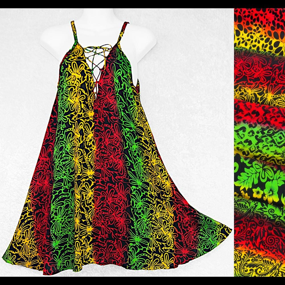 Rasta Lace Up Dress-Dresses-Peaceful People
