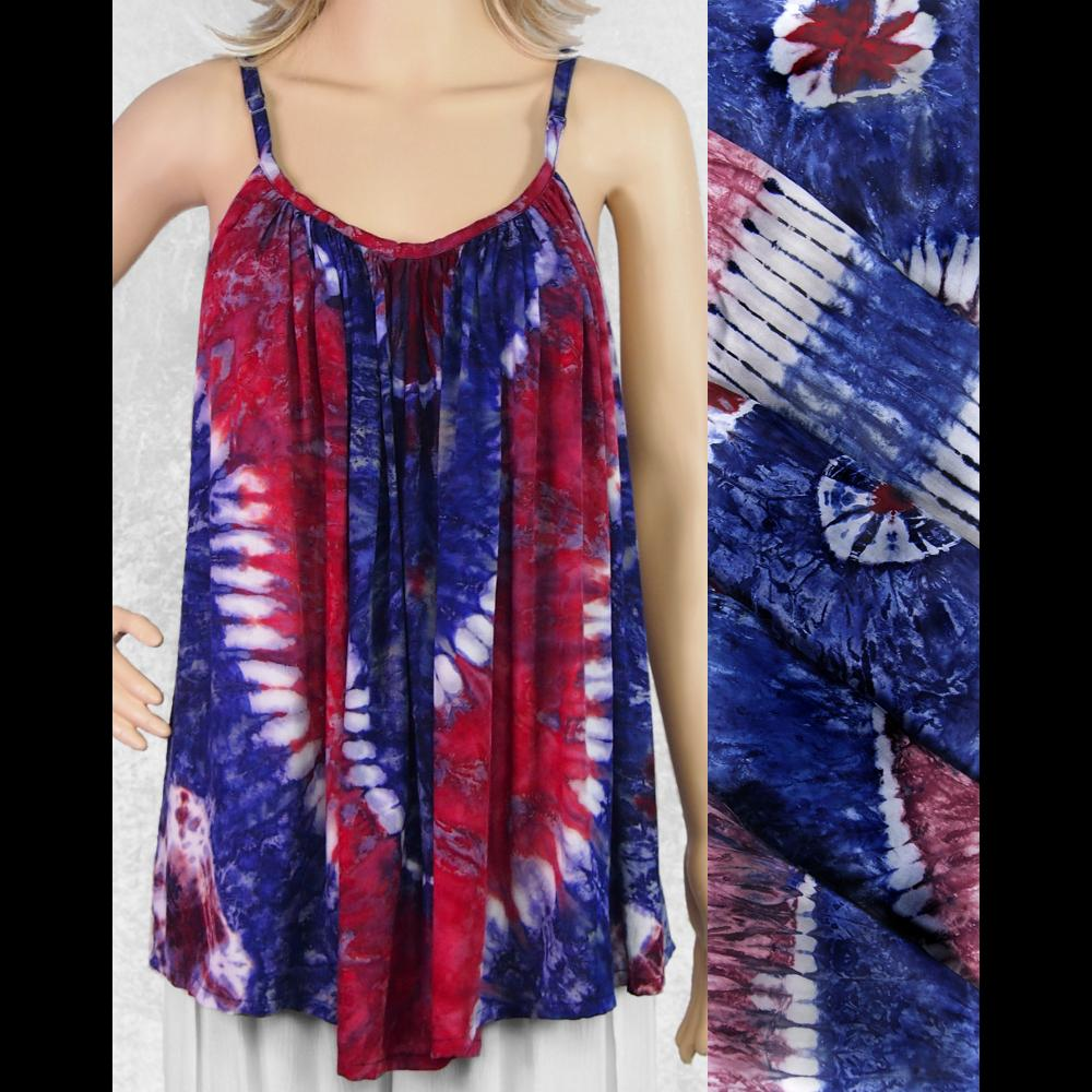 Red, White and Blue Tie-Dye Cami Top-Sarongs-Peaceful People