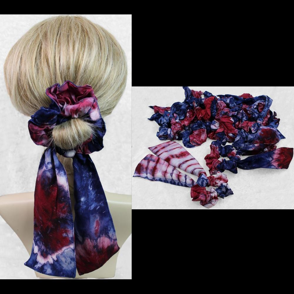 25 Red, White and Blue Pony Tail Hair Scrunchies ($1.50 each)-Bags & Accessories-Peaceful People
