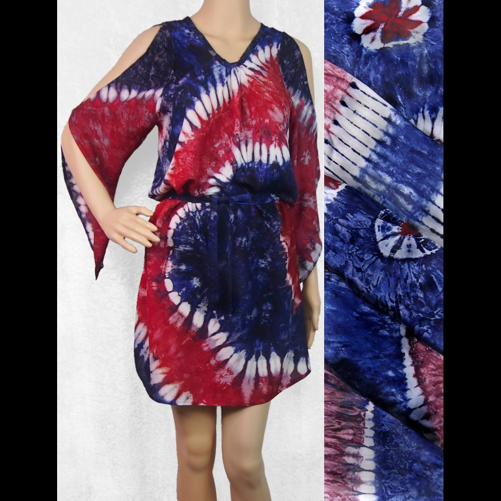 Red, White and Blue Belted Tie-Dye Dress-Peaceful People