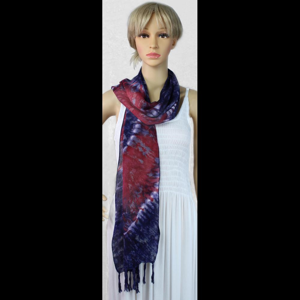 Red, White and Blue Narrow Tie-Dye Scarf-Sarongs-Peaceful People