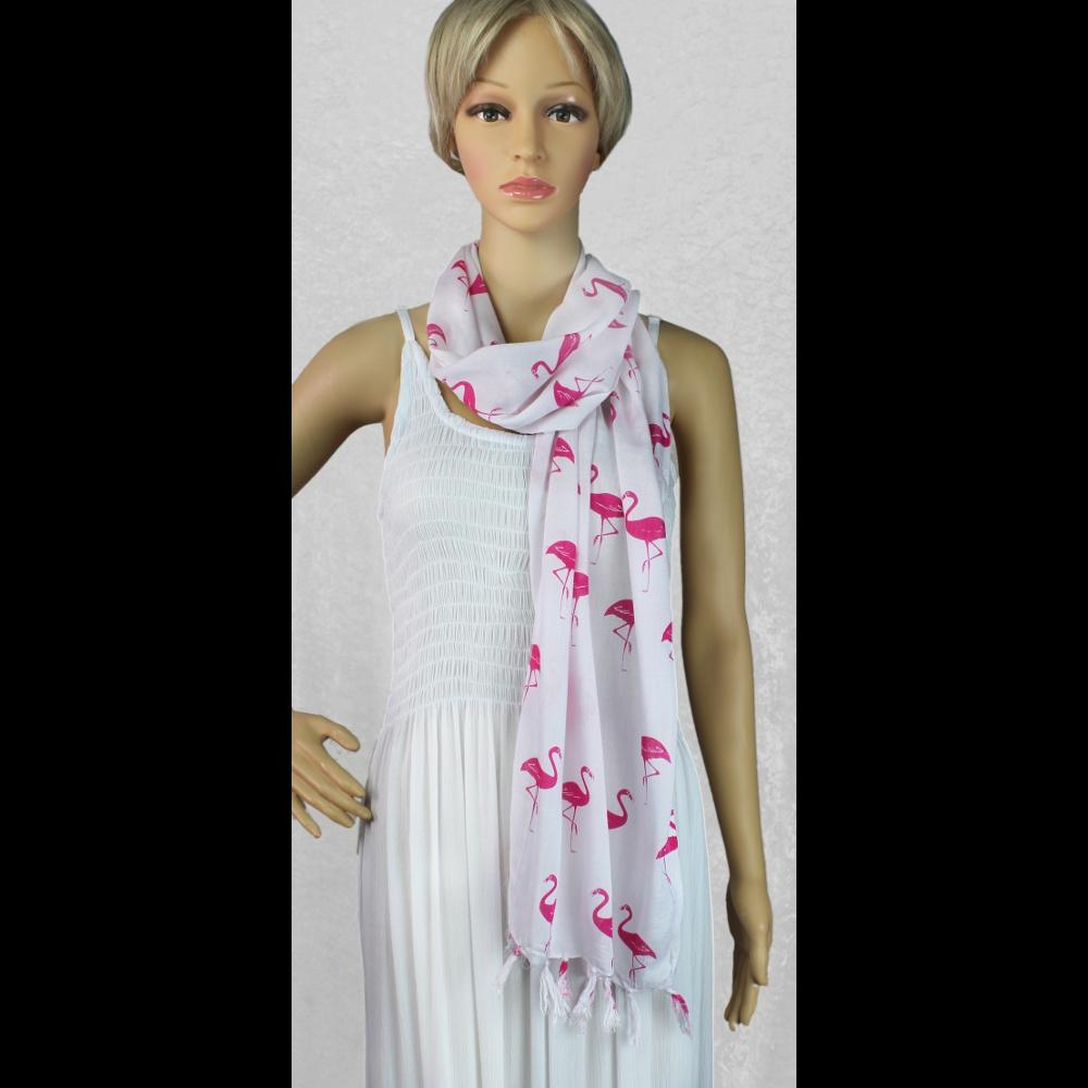 Flamingo Wide Scarf/Shawl-Sarongs-Peaceful People