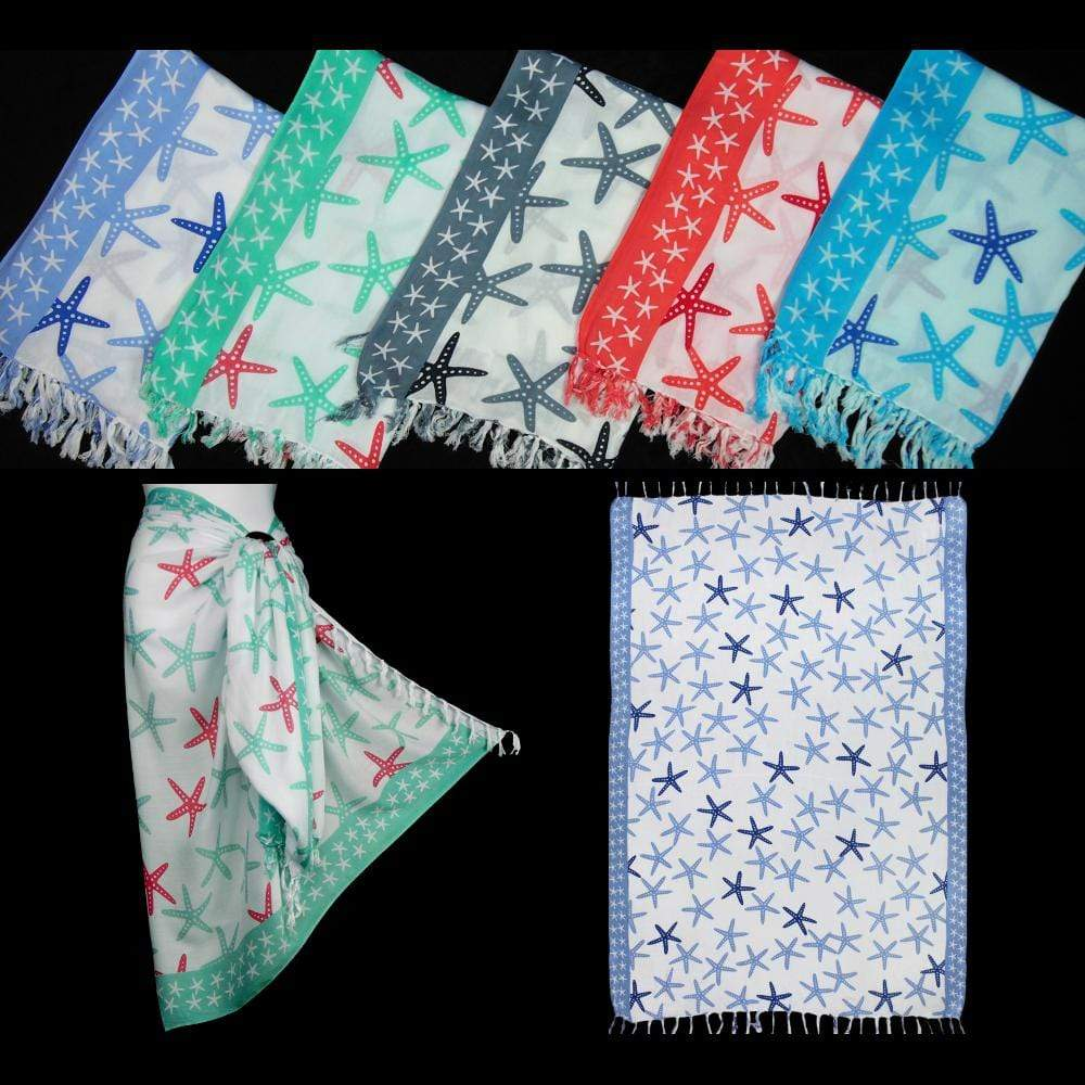 Wholesale Bordered Starfish Sarongs-Sarongs-Peaceful People