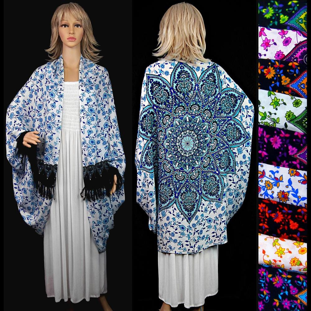 Star Mandala Print Cuffed Shawl-Tops-Peaceful People