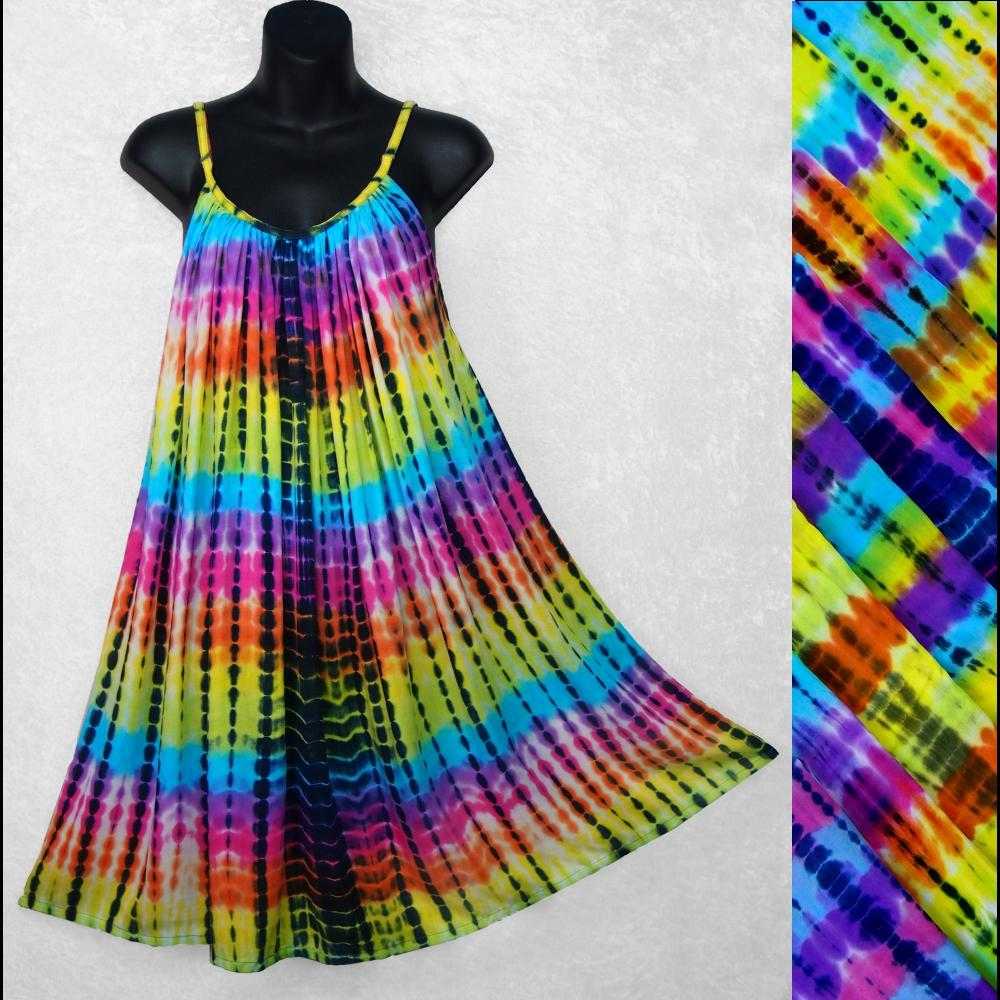 Antique Tie-Dye Parachute Dress-Dresses-Peaceful People