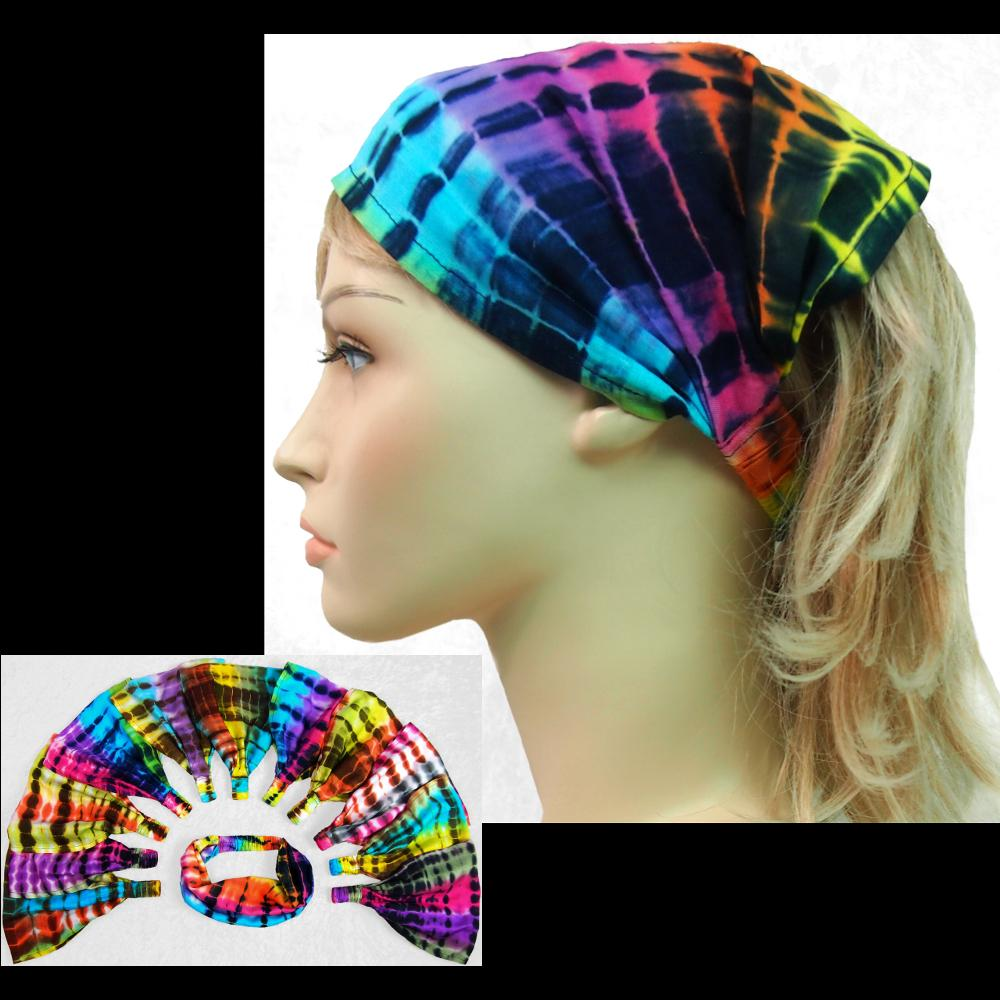 12 Antique Tie-Dye Elastic Bandana-Headbands ($1.60 each)-Bags & Accessories-Peaceful People