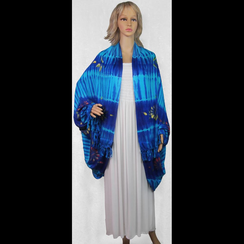 Tie-Dyed Flower Cuffed Shawl-Tops-Peaceful People