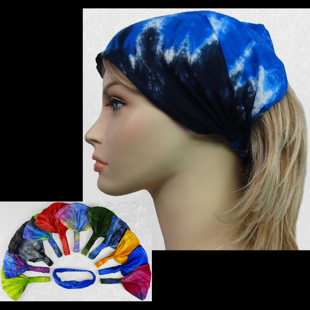 12 Mixed Tie-Dye Elastic Bandana-Headbands ($1.60 each)-Bags & Accessories-Peaceful People