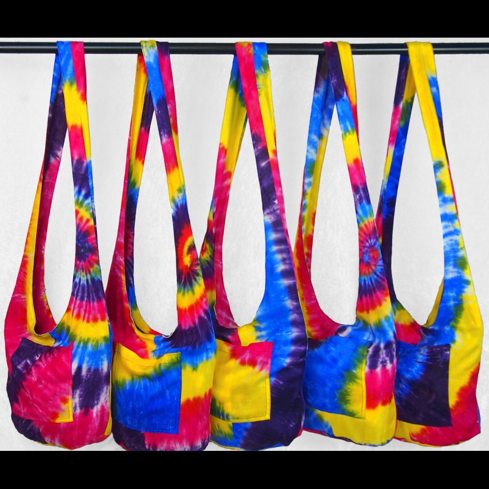 Snazzy Tie-Dye Boho Shoulder Bag-Bags & Accessories-Peaceful People