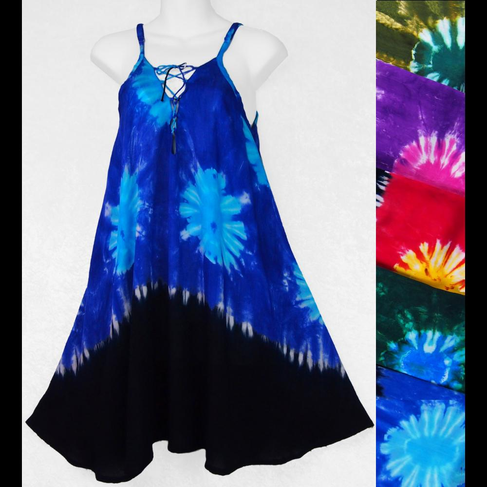 Tie-Dye Suns Lace Up Dress-Dresses-Peaceful People