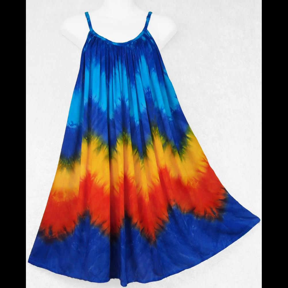 Zig-Zag Tie-Dye Parachute Dress-Dresses-Peaceful People