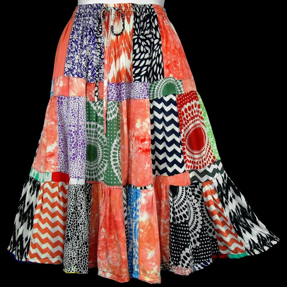 Patchouli Patchwork Skirt-Skirts-Peaceful People