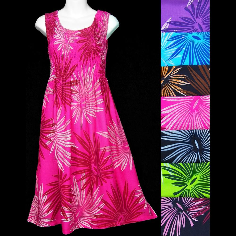 Palm Frond Sarong Tank Dress-Dresses-Peaceful People