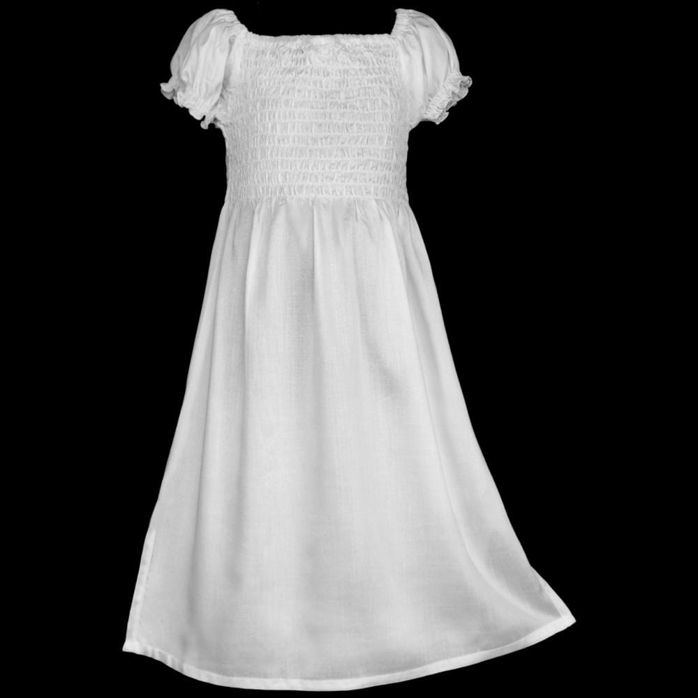 Girl's White Short Sleeve Dress (Ages: 4, 6, 8, 10, 12)-Children's Clothes-Peaceful People