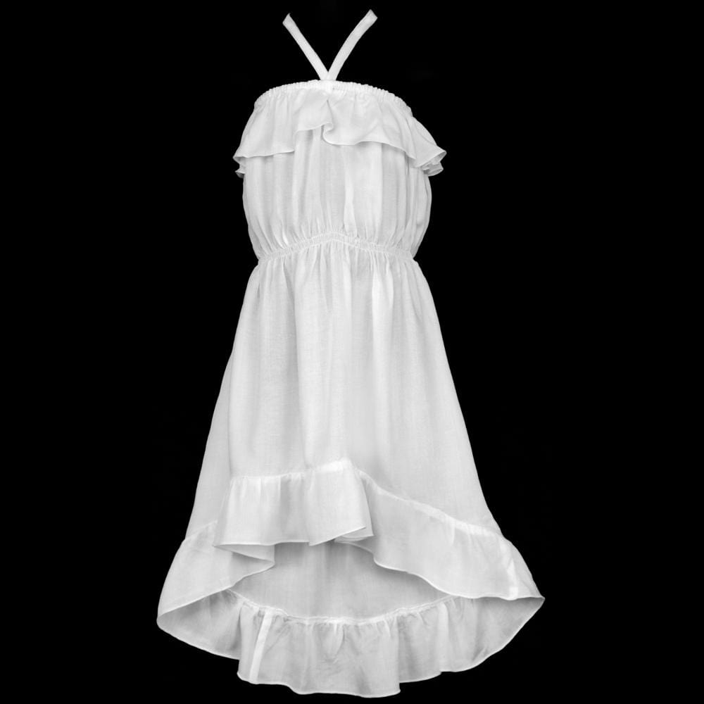 Girl's White Ruffle Dress-Children's Clothes-Peaceful People