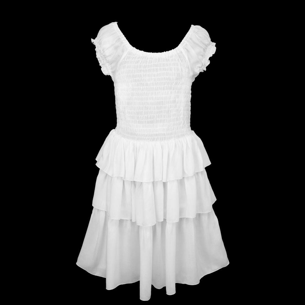 Sandi's White Ruffle Dress for Girls (Ages: 4, 6, 8)-Children's Clothes-Peaceful People