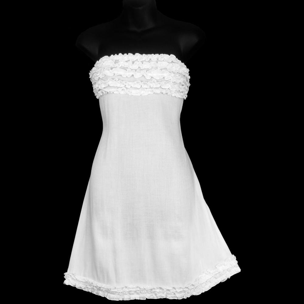 White Frilly Sarong Dress-Dresses-Peaceful People