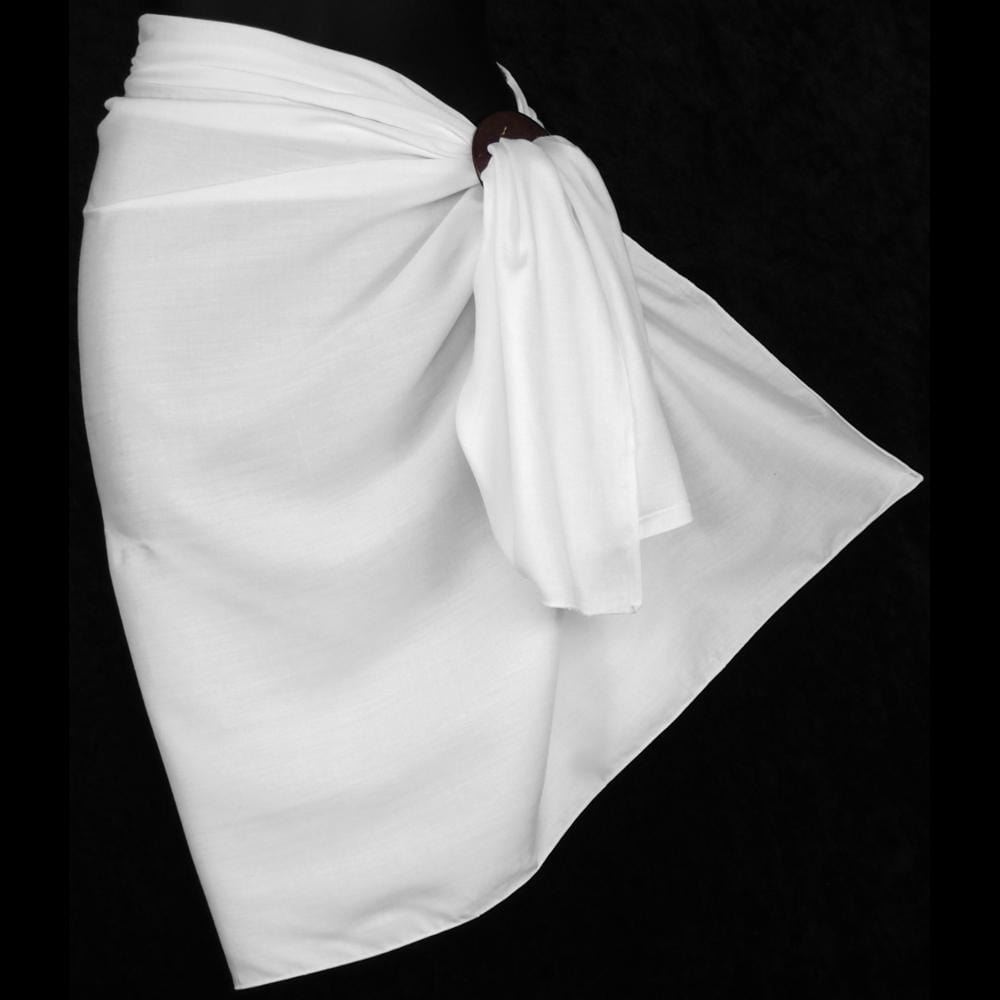 Premium Quality White Sarongs #4 (~48 x 27 in.)-Sarongs-Peaceful People