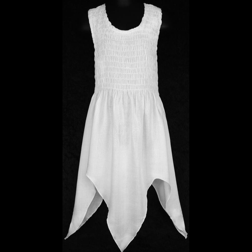 Wholesale Girl's White Tank Sarong Dress (Ages: 4, 6, 8, 10, 12)-Children's Clothes-Peaceful People