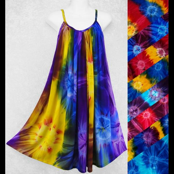 Nicole's Tie-Dye Sarong Parachute Dress-Sun Dresses-Peaceful People
