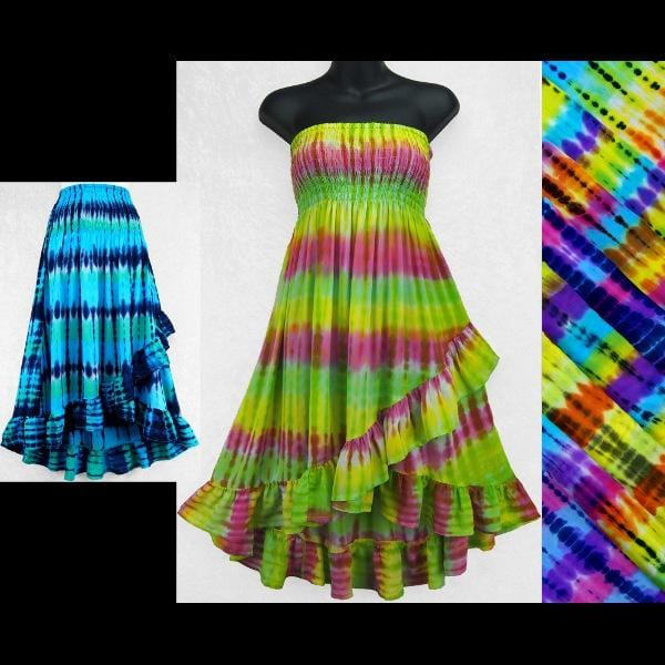 Antique Tie-Dye Convertible Top/Skirt-Tops-Peaceful People