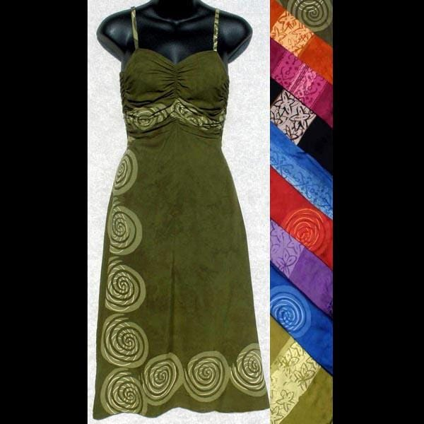 Batik Border Gathered Dress-Dresses-Peaceful People