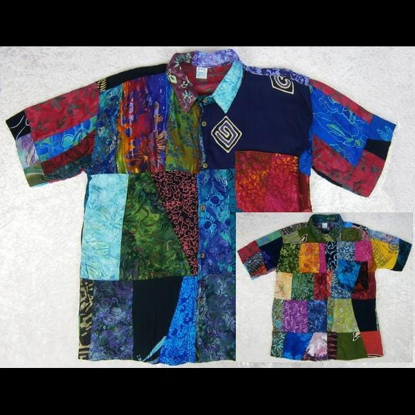 Patchwork Men's Shirt-Shirts-Peaceful People