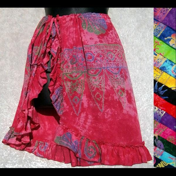 Kelly's Batik Ruffle Beach Wrap Skirt-Skirts-Peaceful People