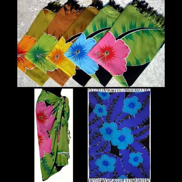 Hibiscus and Leaf Sarongs-Sarongs-Peaceful People