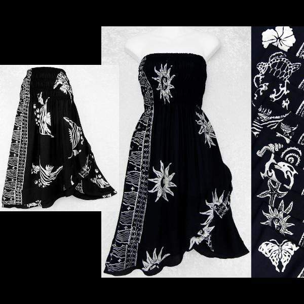 Black and White Batik Convertible Dress/Skirt-Dresses-Peaceful People