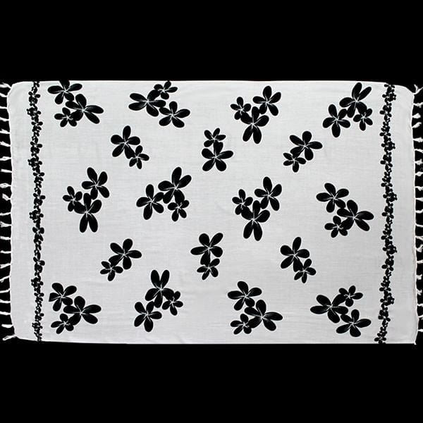Black & White Frangipani Sarongs-Sarongs-Peaceful People