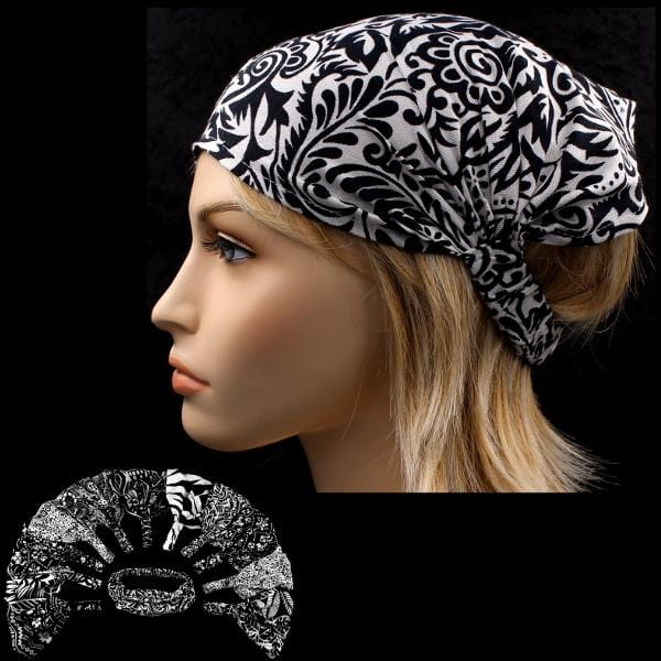 12 Black and White Print Elastic Bandana-Headbands ($1.60 each)-Bags & Accessories-Peaceful People