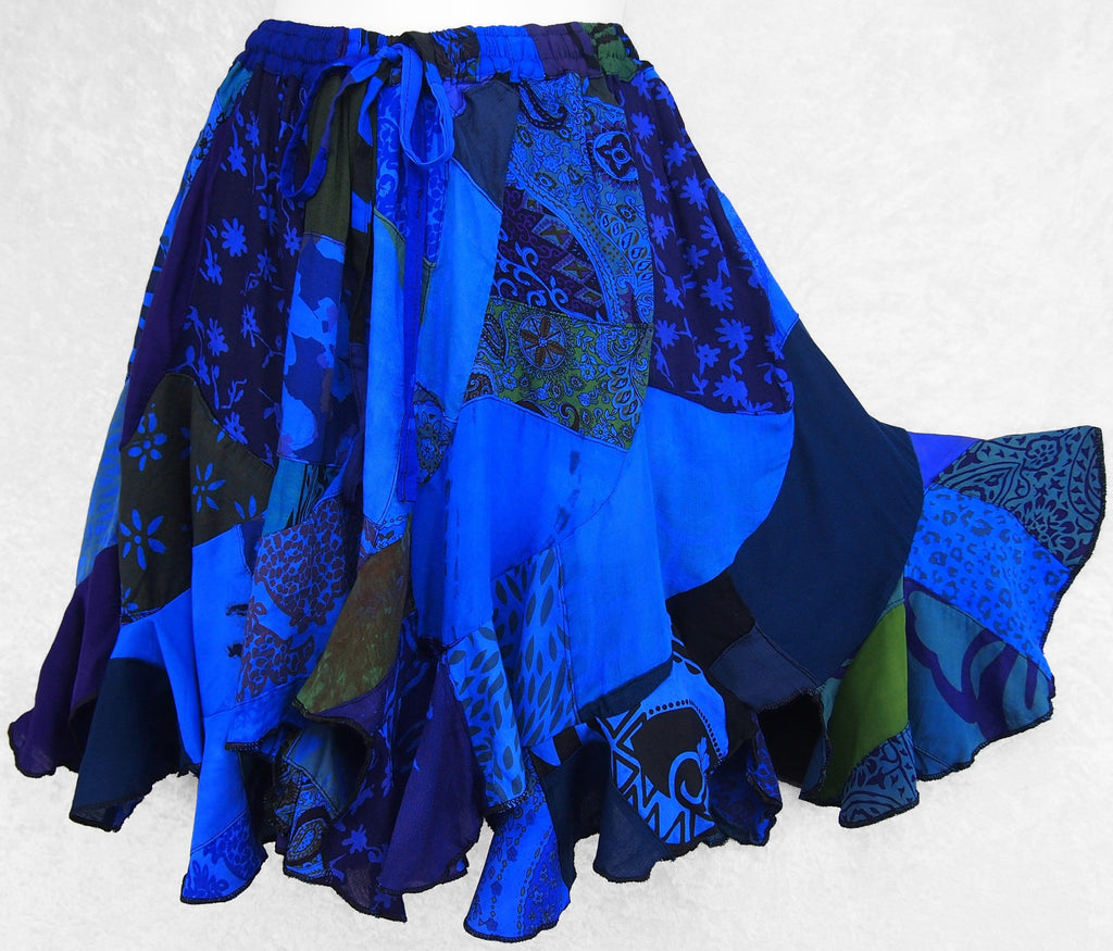 Stacey's Patchwork Short Swirl Skirt-Skirts-Peaceful People