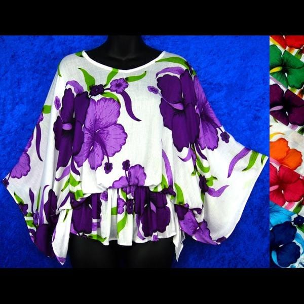 Bright Flower Butterfly Poncho Top-Tops-Peaceful People